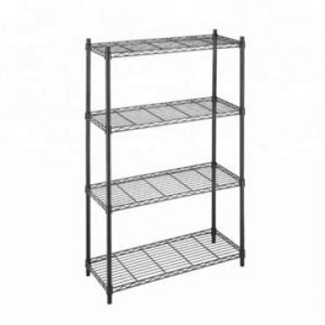 Basics 3-Shelf Shelving Storage Unit, Metal Organizer Wire Rack, Black (23.2L x 13.4W x 30H)